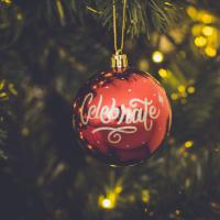 Celebrate Ornament in Maroon and Gold